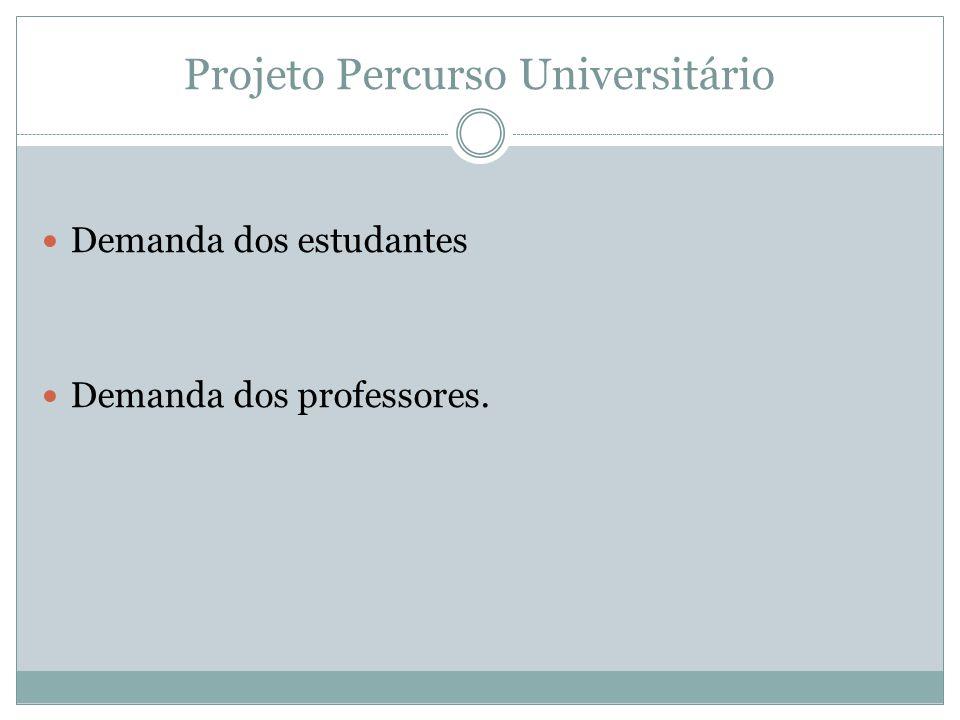 Projeto Percurso Universitário Demanda dos estudantes Demanda dos professores.
