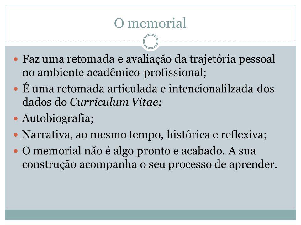 O memorial Faz uma retomada e avaliação da trajetória pessoal no ambiente acadêmico-profissional; É uma retomada articulada e intencionalilzada dos da