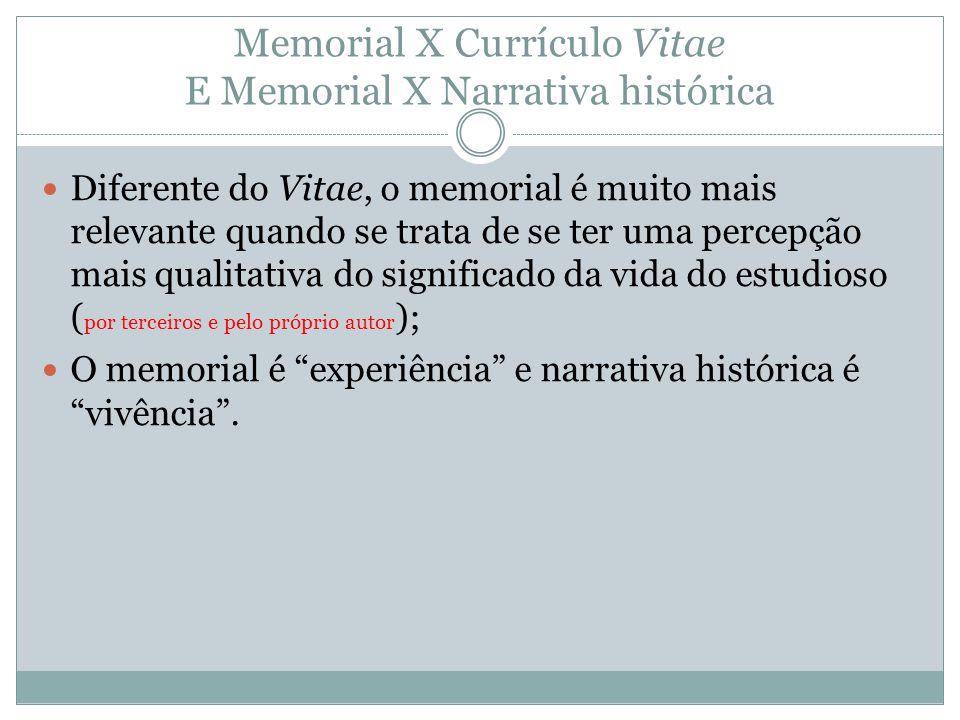 Memorial X Currículo Vitae E Memorial X Narrativa histórica Diferente do Vitae, o memorial é muito mais relevante quando se trata de se ter uma percep
