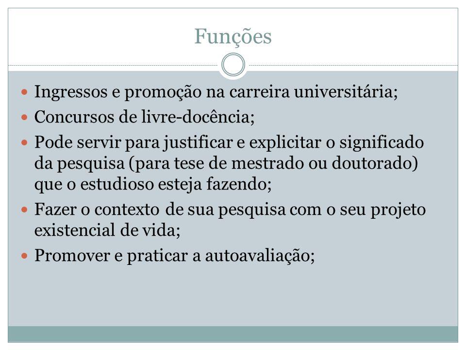 Funções Ingressos e promoção na carreira universitária; Concursos de livre-docência; Pode servir para justificar e explicitar o significado da pesquis