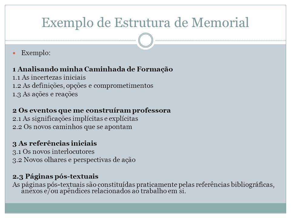 Exemplo de Estrutura de Memorial Exemplo: 1 Analisando minha Caminhada de Formação 1.1 As incertezas iniciais 1.2 As definições, opções e comprometime