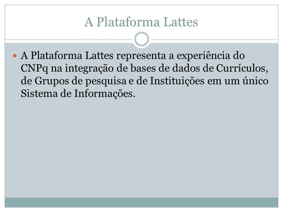 A Plataforma Lattes A Plataforma Lattes representa a experiência do CNPq na integração de bases de dados de Currículos, de Grupos de pesquisa e de Instituições em um único Sistema de Informações.