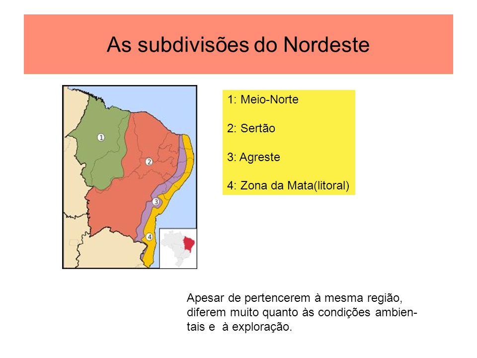 As subdivisões do Nordeste 1: Meio-Norte 2: Sertão 3: Agreste 4: Zona da Mata(litoral) Apesar de pertencerem à mesma região, diferem muito quanto às condições ambien- tais e à exploração.