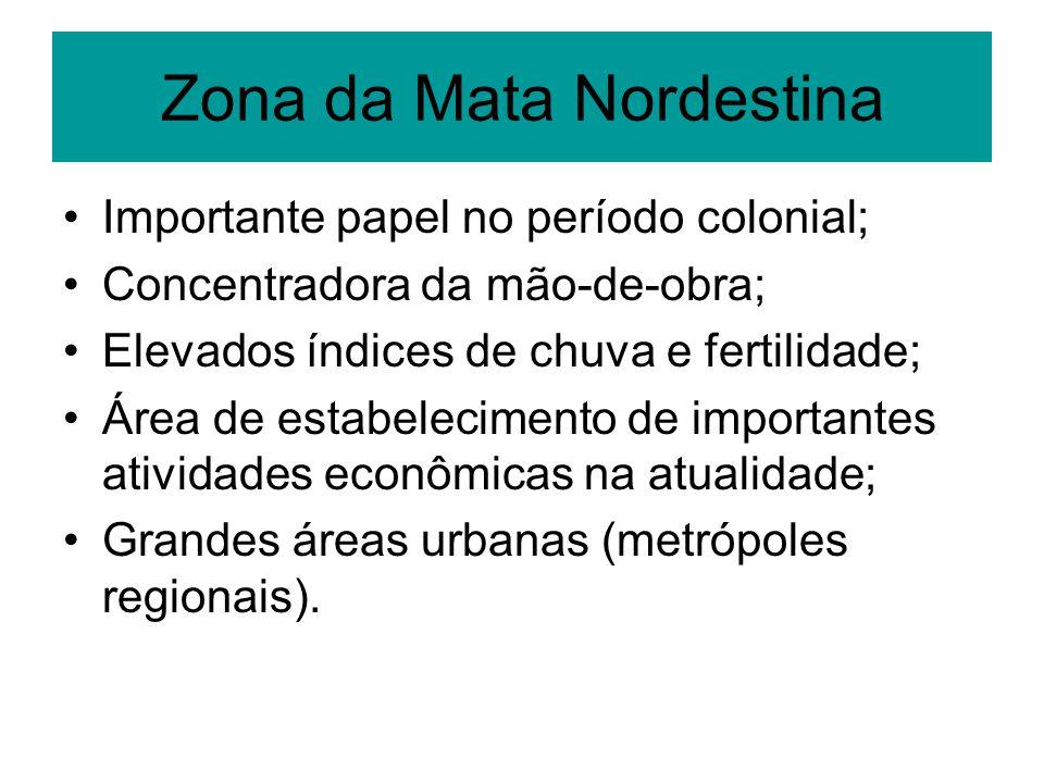 Zona da Mata Nordestina Importante papel no período colonial; Concentradora da mão-de-obra; Elevados índices de chuva e fertilidade; Área de estabelec