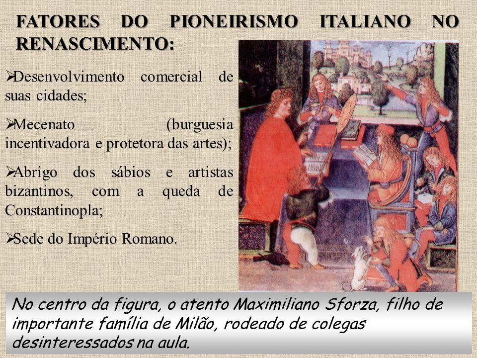 FATORES DO PIONEIRISMO ITALIANO NO RENASCIMENTO:  Desenvolvimento comercial de suas cidades;  Mecenato (burguesia incentivadora e protetora das arte