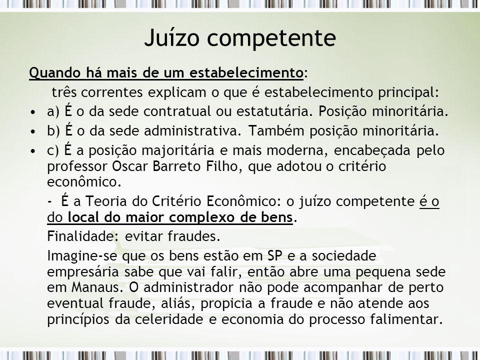Juízo competente Quando há mais de um estabelecimento: três correntes explicam o que é estabelecimento principal: a) É o da sede contratual ou estatut