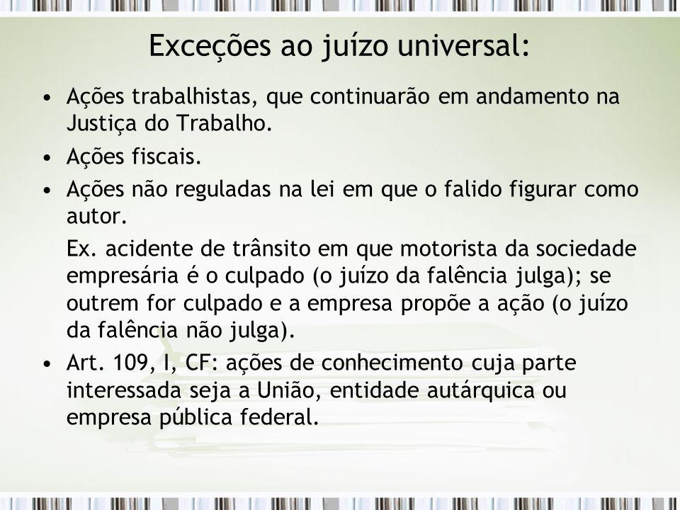 Exceções ao juízo universal: Ações trabalhistas, que continuarão em andamento na Justiça do Trabalho. Ações fiscais. Ações não reguladas na lei em que
