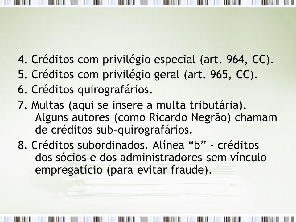 4. Créditos com privilégio especial (art. 964, CC). 5. Créditos com privilégio geral (art. 965, CC). 6. Créditos quirografários. 7. Multas (aqui se in