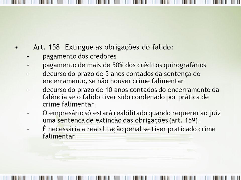 Art. 158. Extingue as obrigações do falido: –pagamento dos credores –pagamento de mais de 50% dos créditos quirografários –decurso do prazo de 5 anos