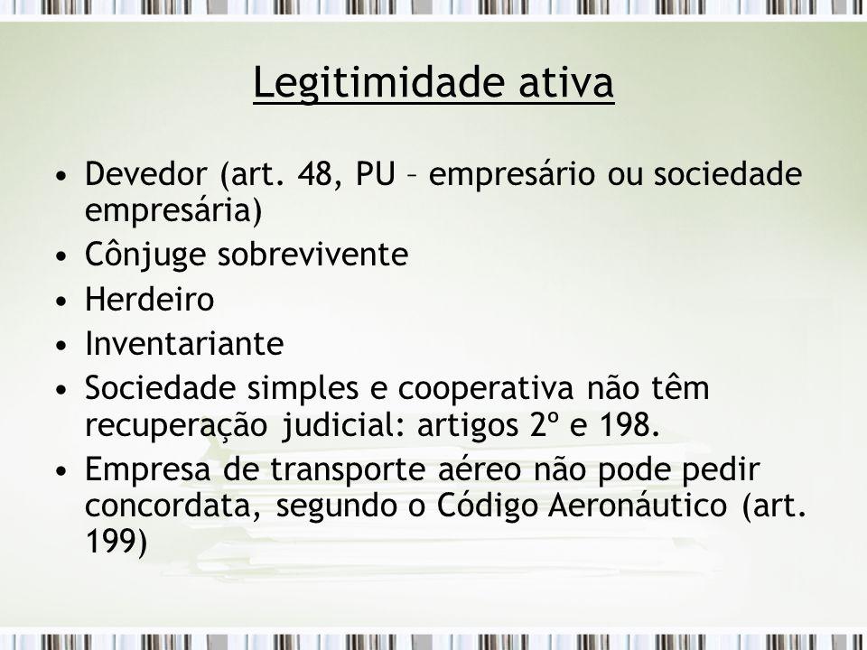 Legitimidade ativa Devedor (art. 48, PU – empresário ou sociedade empresária) Cônjuge sobrevivente Herdeiro Inventariante Sociedade simples e cooperat