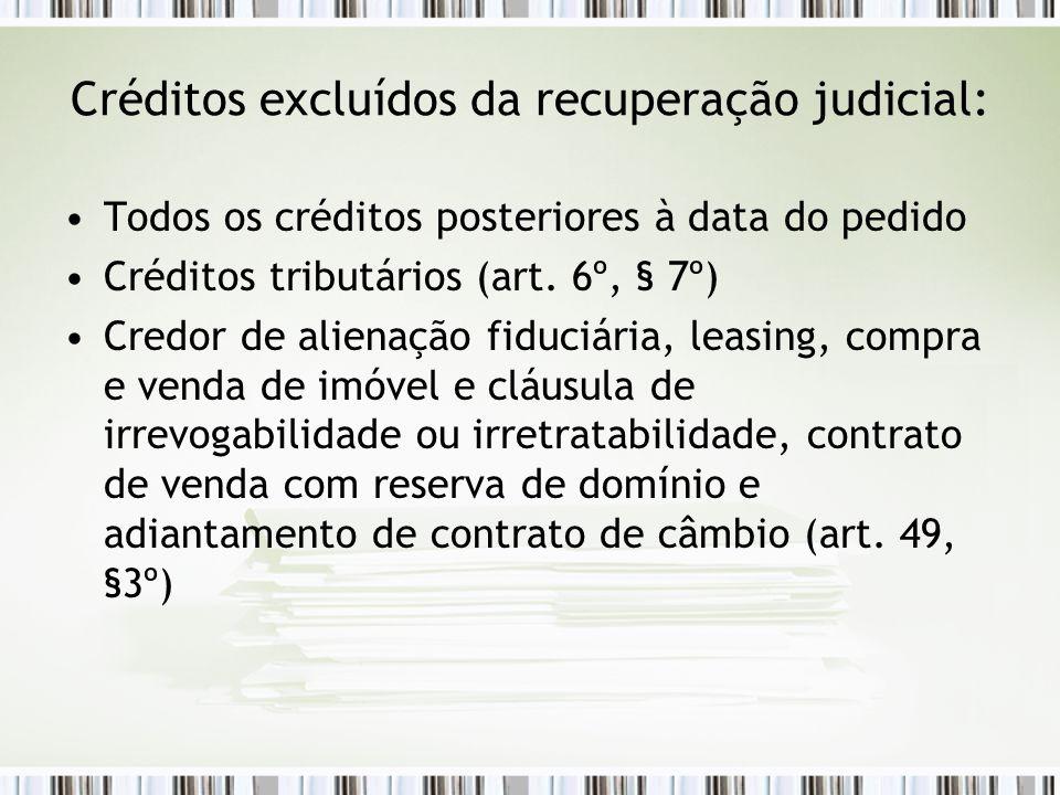 Créditos excluídos da recuperação judicial: Todos os créditos posteriores à data do pedido Créditos tributários (art. 6º, § 7º) Credor de alienação fi