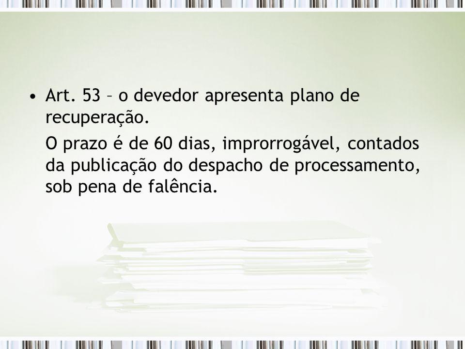 Art. 53 – o devedor apresenta plano de recuperação. O prazo é de 60 dias, improrrogável, contados da publicação do despacho de processamento, sob pena