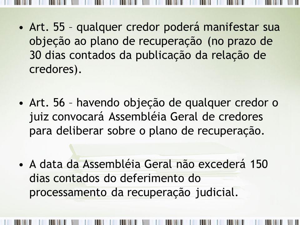 Art. 55 – qualquer credor poderá manifestar sua objeção ao plano de recuperação (no prazo de 30 dias contados da publicação da relação de credores). A