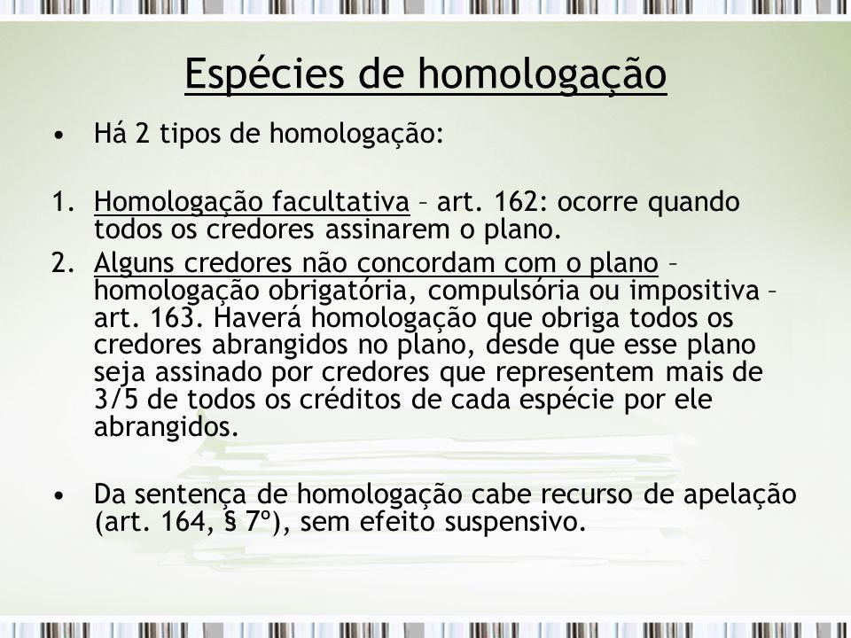 Espécies de homologação Há 2 tipos de homologação: 1.Homologação facultativa – art. 162: ocorre quando todos os credores assinarem o plano. 2.Alguns c