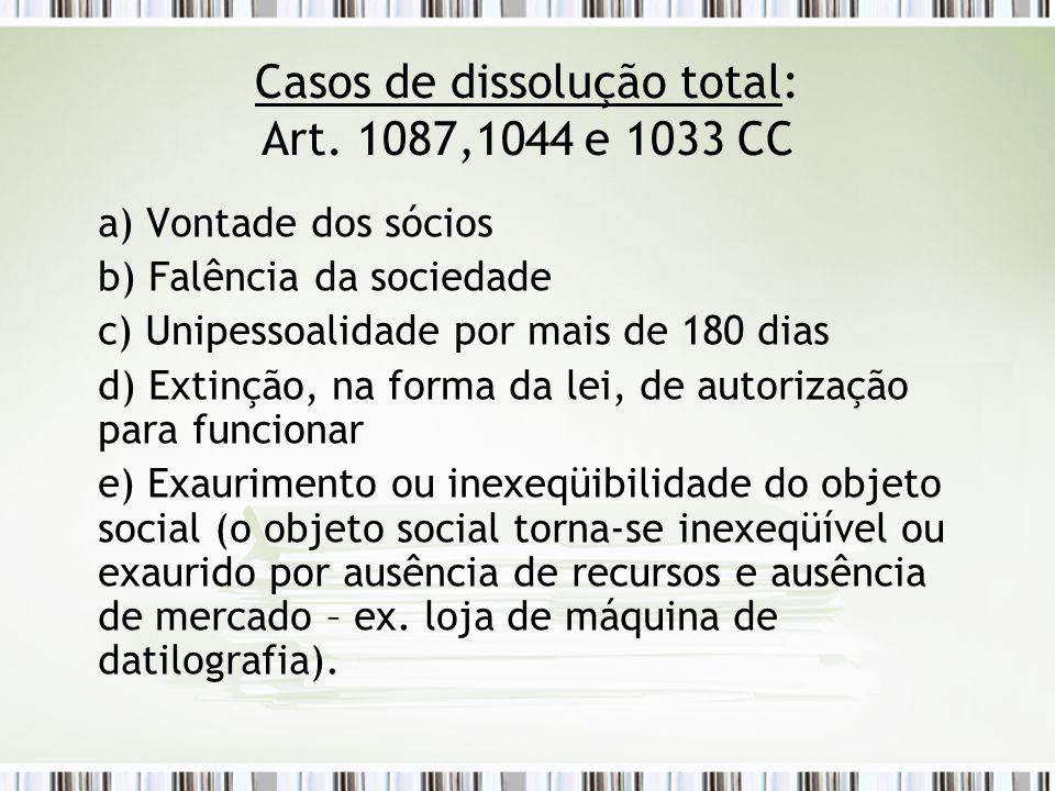 Casos de dissolução total: Art. 1087,1044 e 1033 CC a) Vontade dos sócios b) Falência da sociedade c) Unipessoalidade por mais de 180 dias d) Extinção
