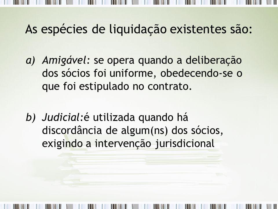 As espécies de liquidação existentes são: a)Amigável: se opera quando a deliberação dos sócios foi uniforme, obedecendo-se o que foi estipulado no con