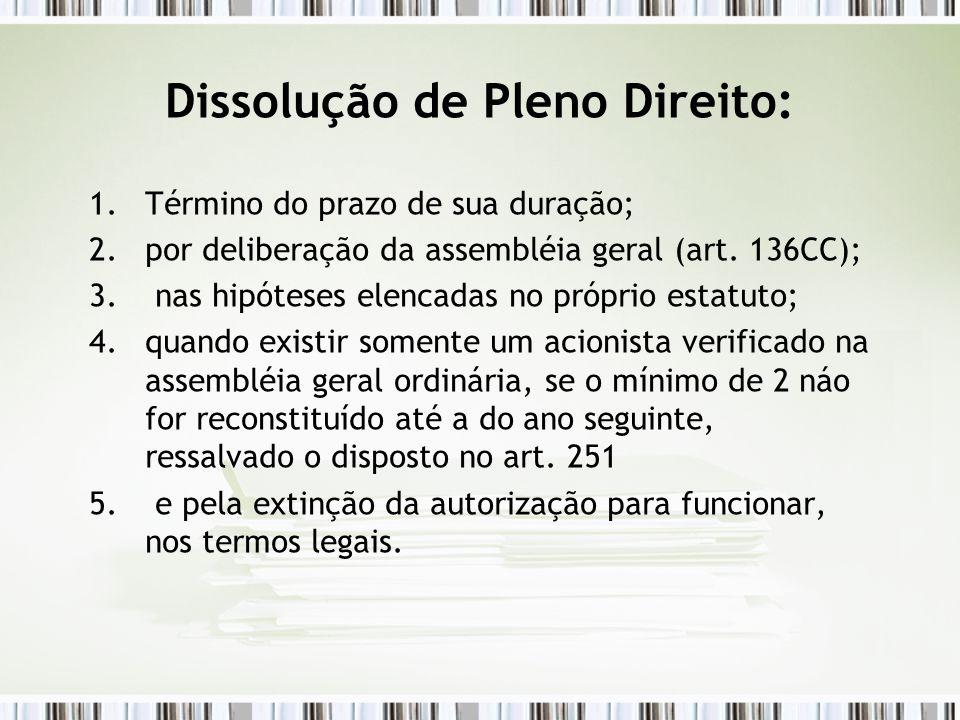 Dissolução de Pleno Direito: 1.Término do prazo de sua duração; 2.por deliberação da assembléia geral (art. 136CC); 3. nas hipóteses elencadas no próp