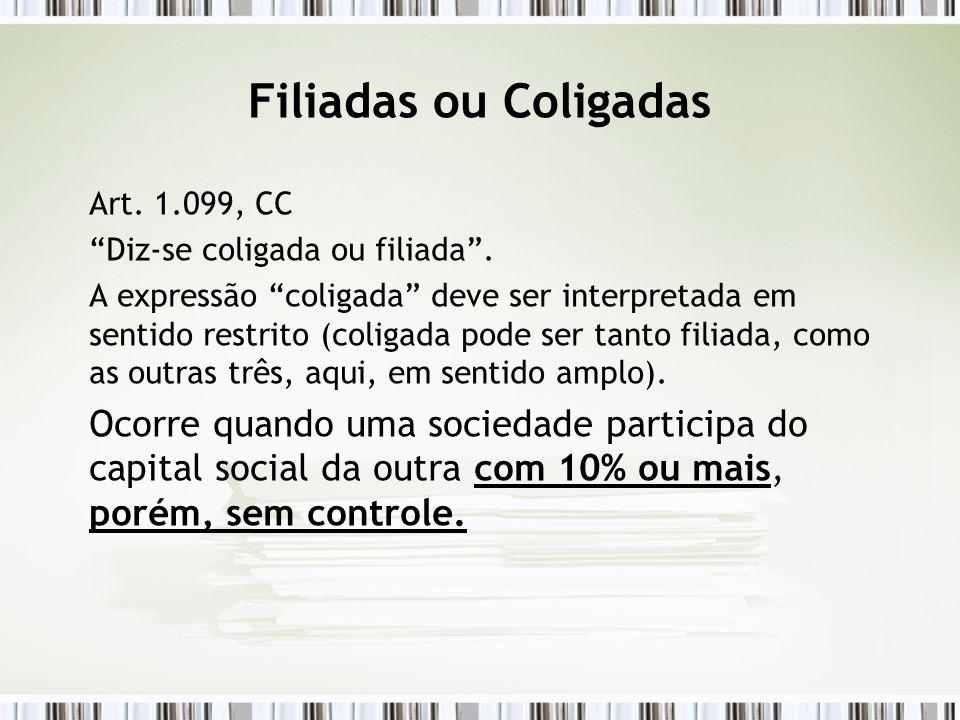 """Filiadas ou Coligadas Art. 1.099, CC """"Diz-se coligada ou filiada"""". A expressão """"coligada"""" deve ser interpretada em sentido restrito (coligada pode ser"""