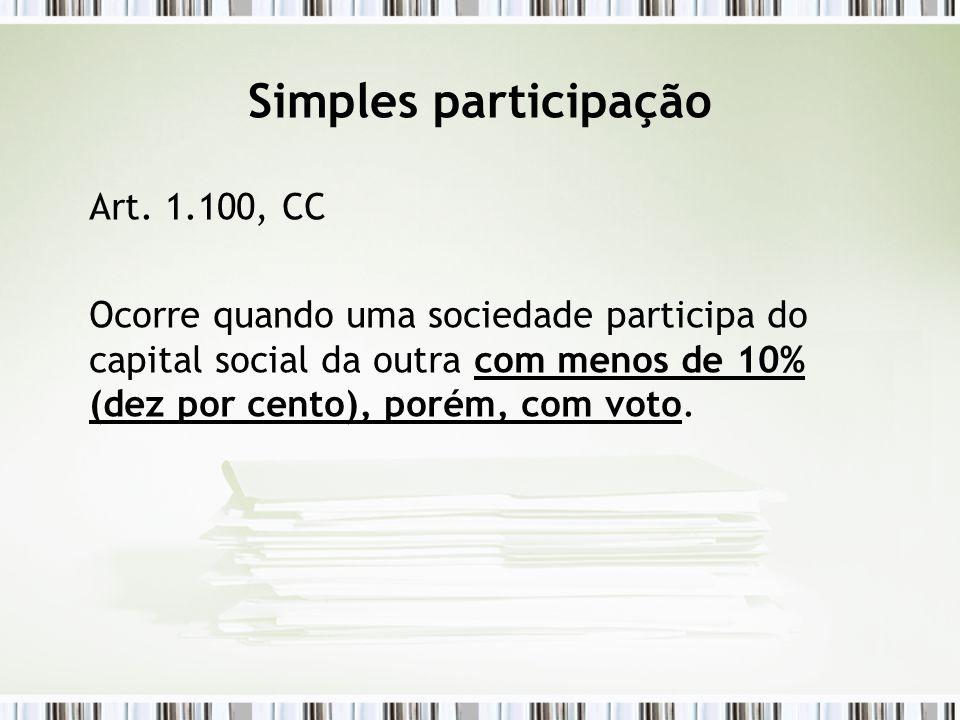 Simples participação Art. 1.100, CC Ocorre quando uma sociedade participa do capital social da outra com menos de 10% (dez por cento), porém, com voto