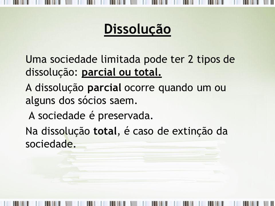 Dissolução Uma sociedade limitada pode ter 2 tipos de dissolução: parcial ou total. A dissolução parcial ocorre quando um ou alguns dos sócios saem. A