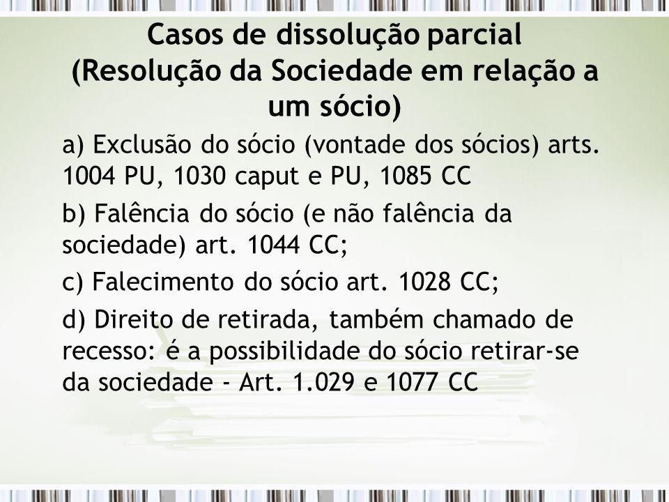 Casos de dissolução parcial (Resolução da Sociedade em relação a um sócio) a) Exclusão do sócio (vontade dos sócios) arts. 1004 PU, 1030 caput e PU, 1