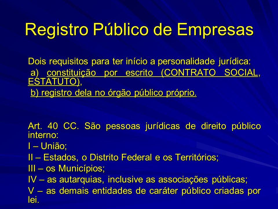 Registro Público de Empresas Dois requisitos para ter início a personalidade jurídica: a) constituição por escrito (CONTRATO SOCIAL, ESTATUTO), a) con