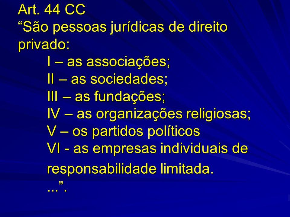 """Art. 44 CC """"São pessoas jurídicas de direito privado: I – as associações; II – as sociedades; III – as fundações; IV – as organizações religiosas; V –"""