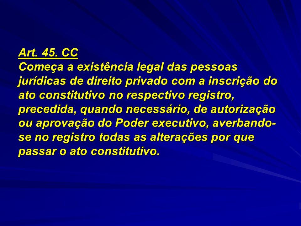 Art. 45. CC Começa a existência legal das pessoas jurídicas de direito privado com a inscrição do ato constitutivo no respectivo registro, precedida,