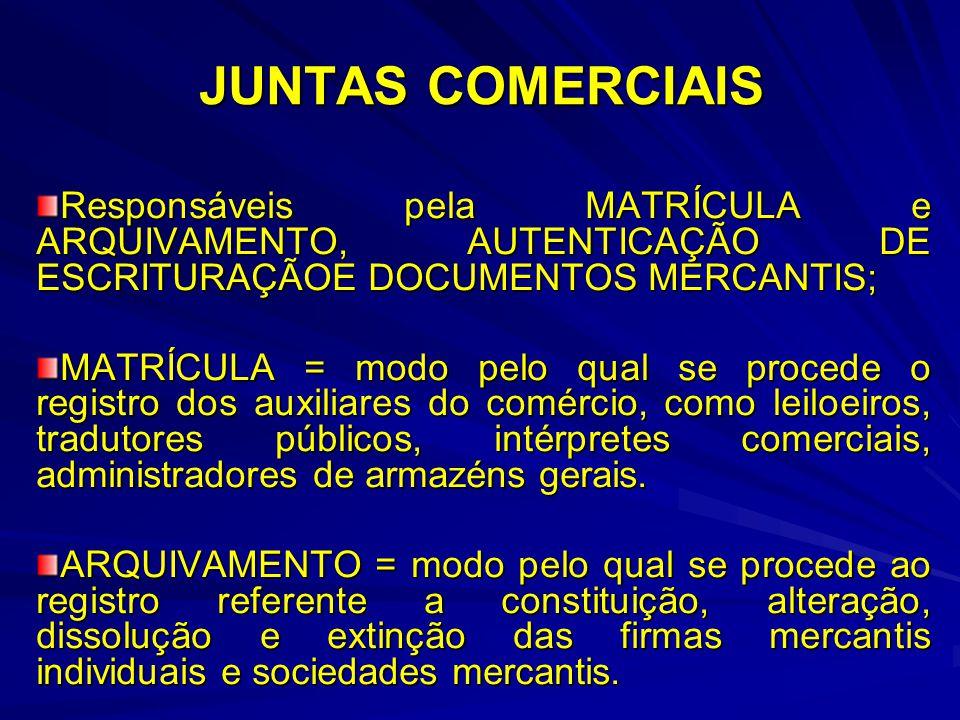 JUNTAS COMERCIAIS Responsáveis pela MATRÍCULA e ARQUIVAMENTO, AUTENTICAÇÃO DE ESCRITURAÇÃOE DOCUMENTOS MERCANTIS; MATRÍCULA = modo pelo qual se proced
