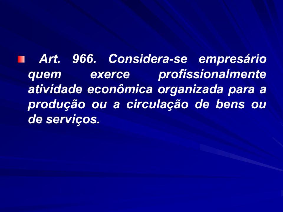 Art. 966. Considera-se empresário quem exerce profissionalmente atividade econômica organizada para a produção ou a circulação de bens ou de serviços.