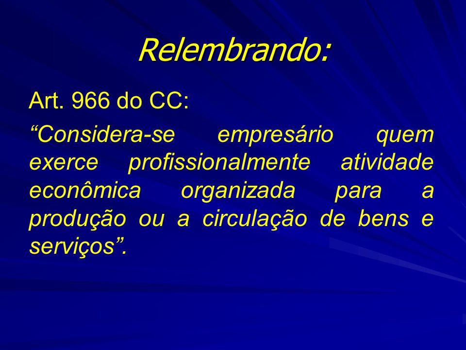 """Relembrando: Art. 966 do CC: """"Considera-se empresário quem exerce profissionalmente atividade econômica organizada para a produção ou a circulação de"""