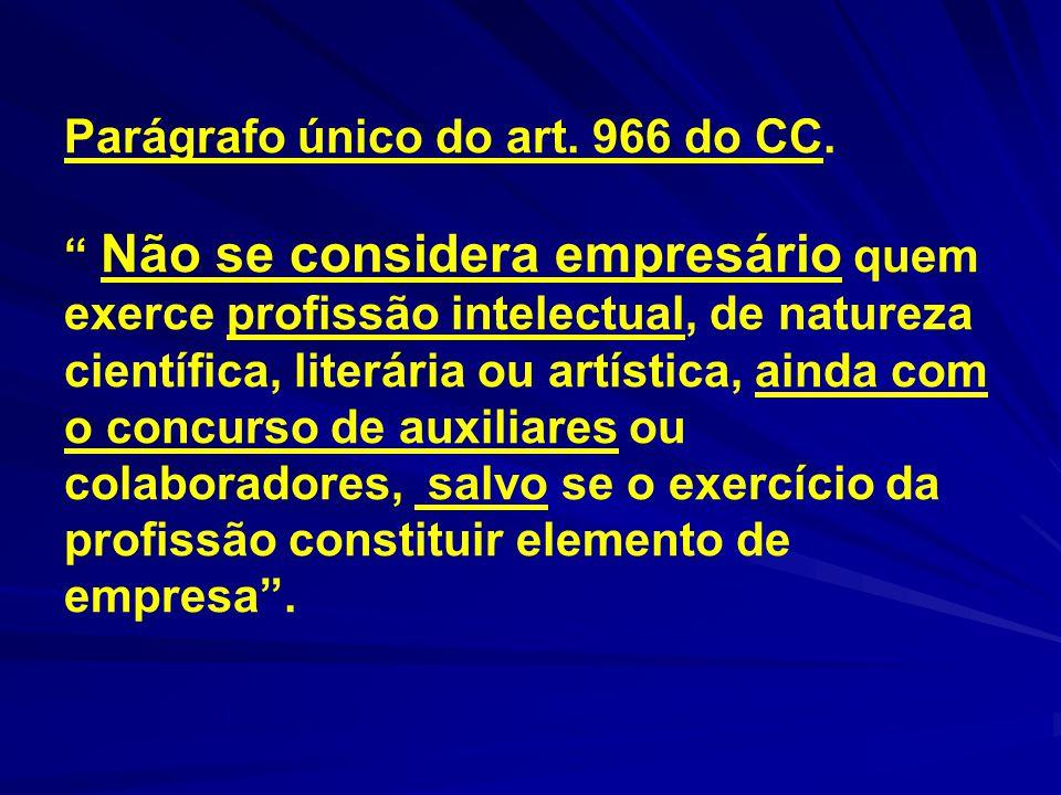 """Parágrafo único do art. 966 do CC. """" Não se considera empresário quem exerce profissão intelectual, de natureza científica, literária ou artística, ai"""