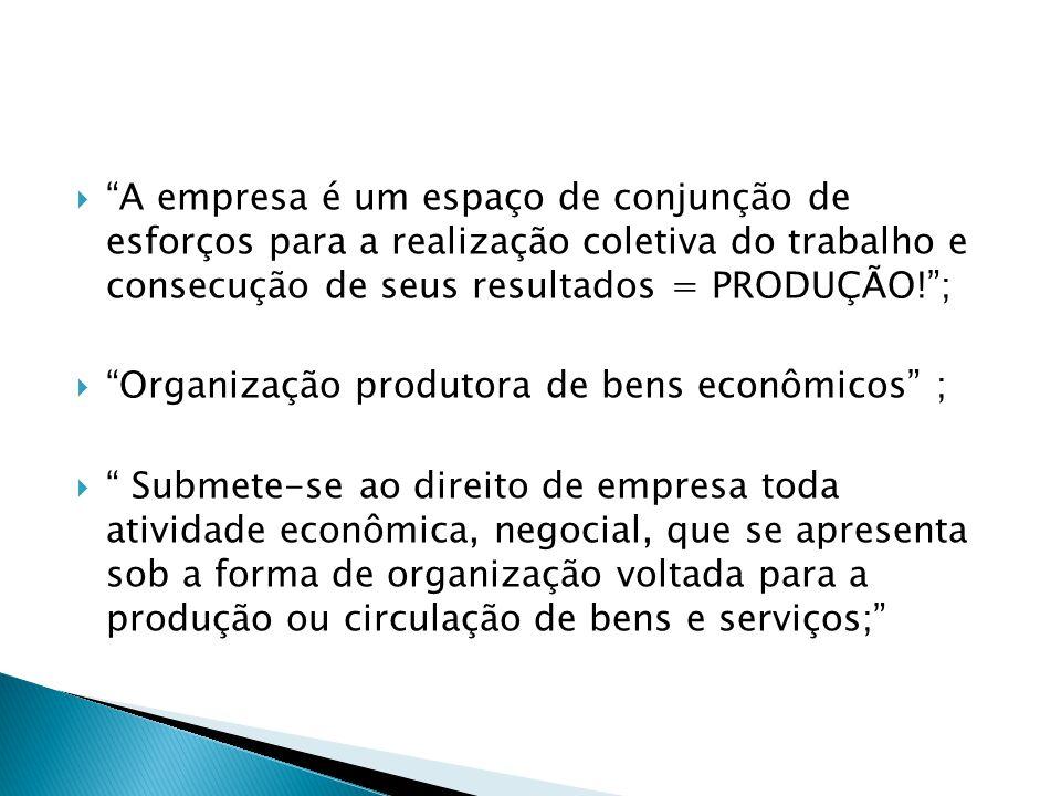 """ """"A empresa é um espaço de conjunção de esforços para a realização coletiva do trabalho e consecução de seus resultados = PRODUÇÃO!"""";  """"Organização"""