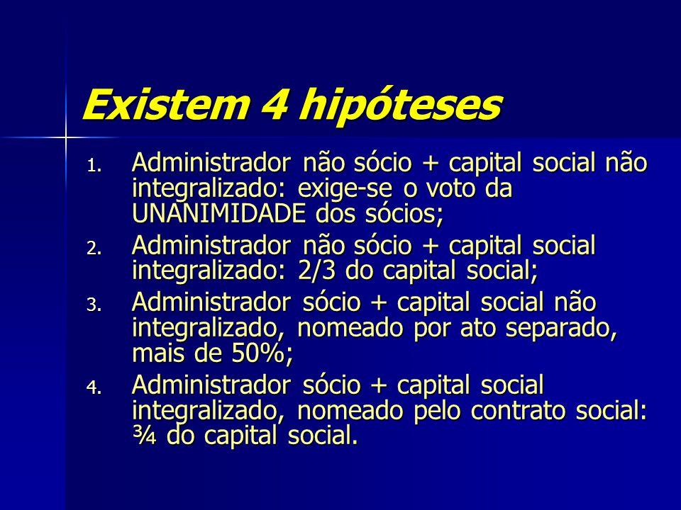 Existem 4 hipóteses 1. Administrador não sócio + capital social não integralizado: exige-se o voto da UNANIMIDADE dos sócios; 2. Administrador não sóc