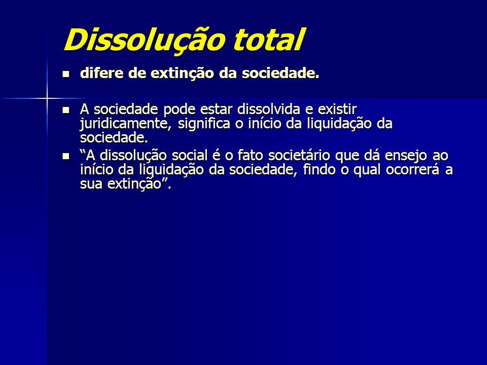 Dissolução total difere de extinção da sociedade. difere de extinção da sociedade. A sociedade pode estar dissolvida e existir juridicamente, signific