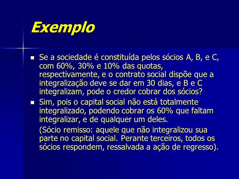 Exemplo Se a sociedade é constituída pelos sócios A, B, e C, com 60%, 30% e 10% das quotas, respectivamente, e o contrato social dispõe que a integral
