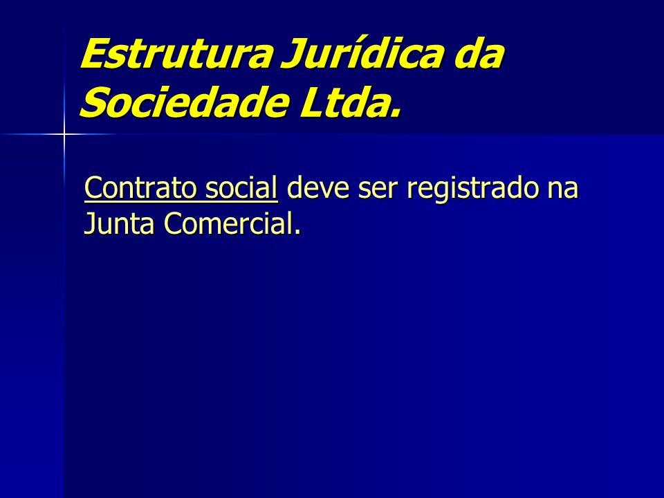 Estrutura Jurídica da Sociedade Ltda. Contrato social deve ser registrado na Junta Comercial.