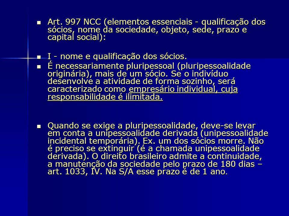 Art. 997 NCC (elementos essenciais - qualificação dos sócios, nome da sociedade, objeto, sede, prazo e capital social): Art. 997 NCC (elementos essenc