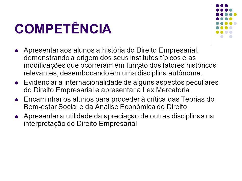 COMPETÊNCIA Apresentar as Teorias dos Atos de Comércio e da Empresa e a adoção desta pelo novo Código Civil.