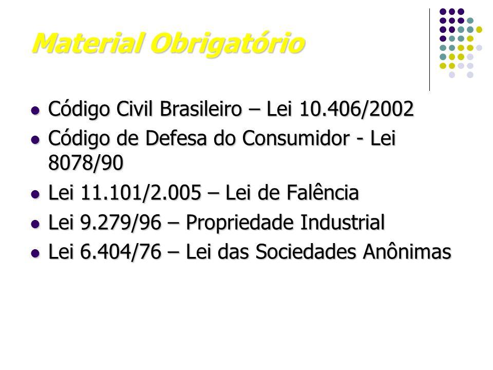 Material Obrigatório Código Civil Brasileiro – Lei 10.406/2002 Código Civil Brasileiro – Lei 10.406/2002 Código de Defesa do Consumidor - Lei 8078/90
