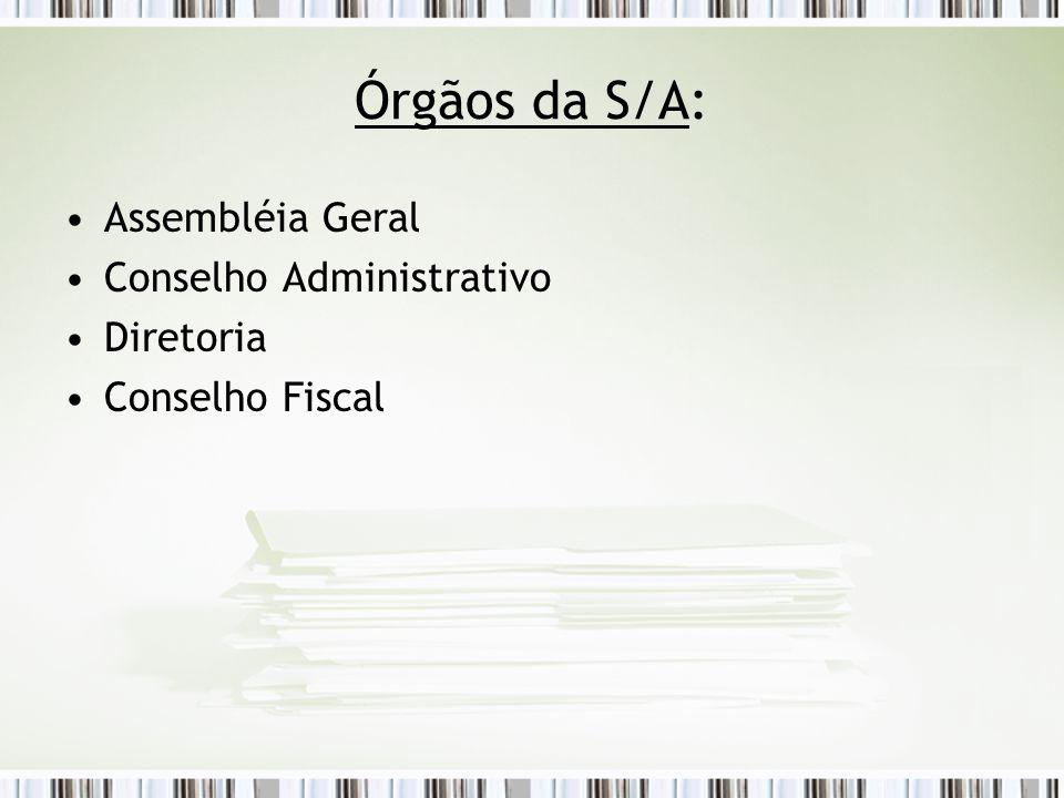 Órgãos da S/A: Assembléia Geral Conselho Administrativo Diretoria Conselho Fiscal