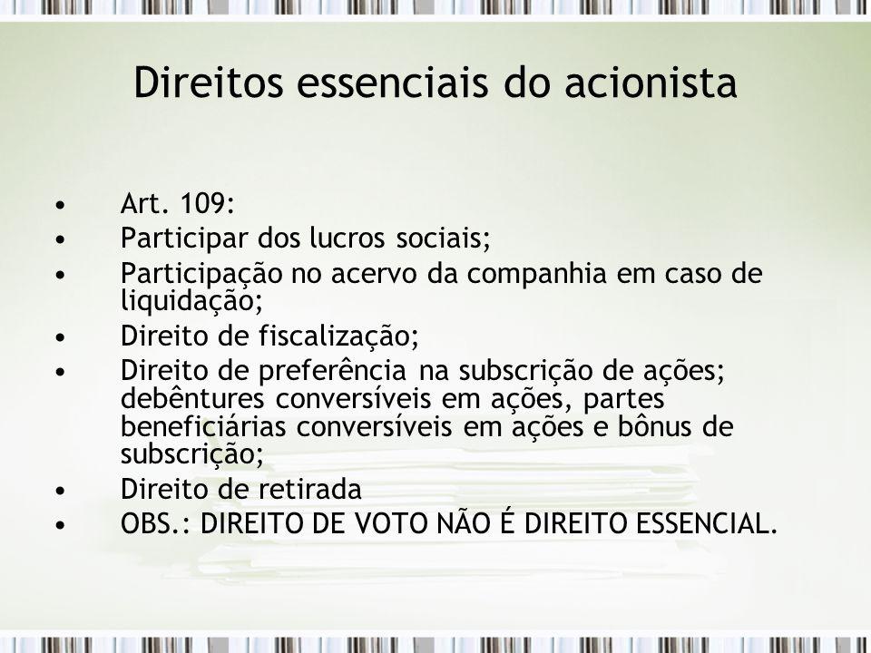 Direitos essenciais do acionista Art.