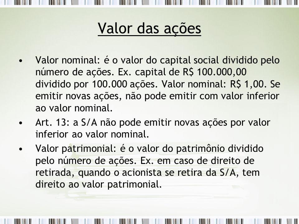 Valor das ações Valor nominal: é o valor do capital social dividido pelo número de ações.