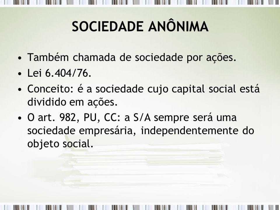 SOCIEDADE ANÔNIMA Também chamada de sociedade por ações.