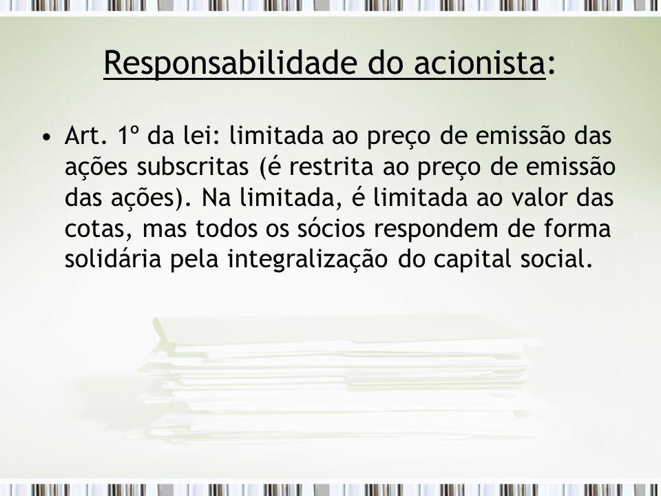 Responsabilidade do acionista: Art.