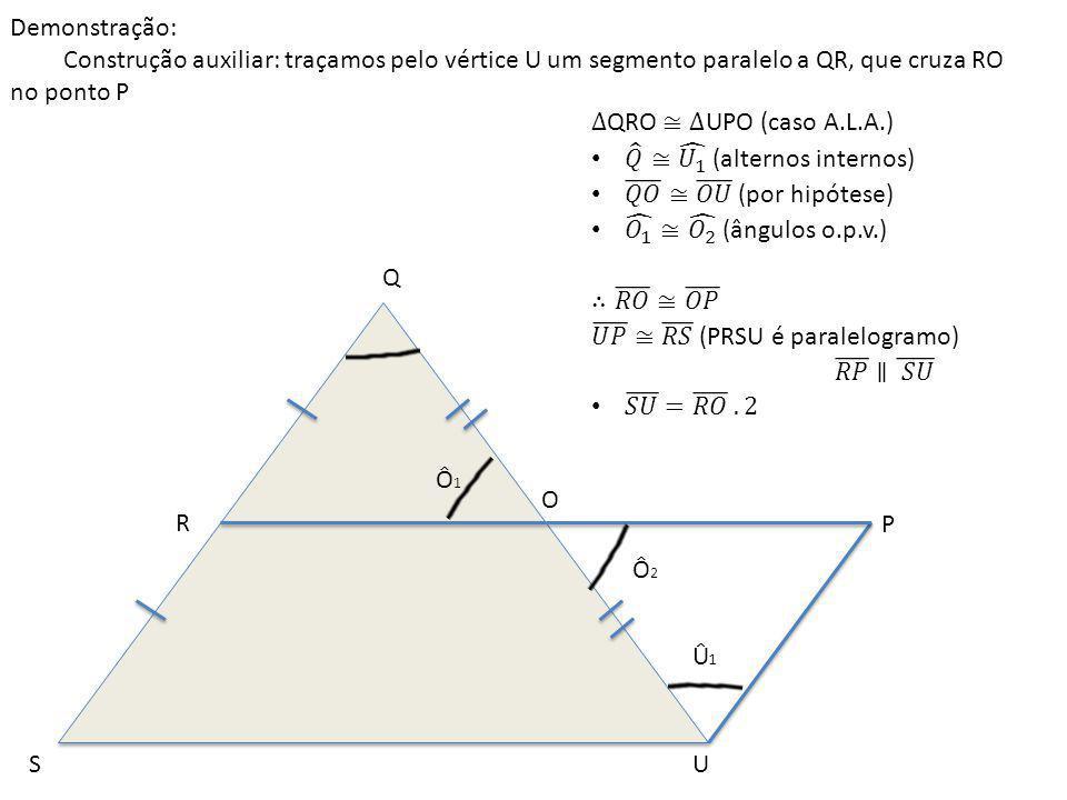 Q US R O P Ô1Ô1 Ô2Ô2 Û1Û1 Demonstração: Construção auxiliar: traçamos pelo vértice U um segmento paralelo a QR, que cruza RO no ponto P