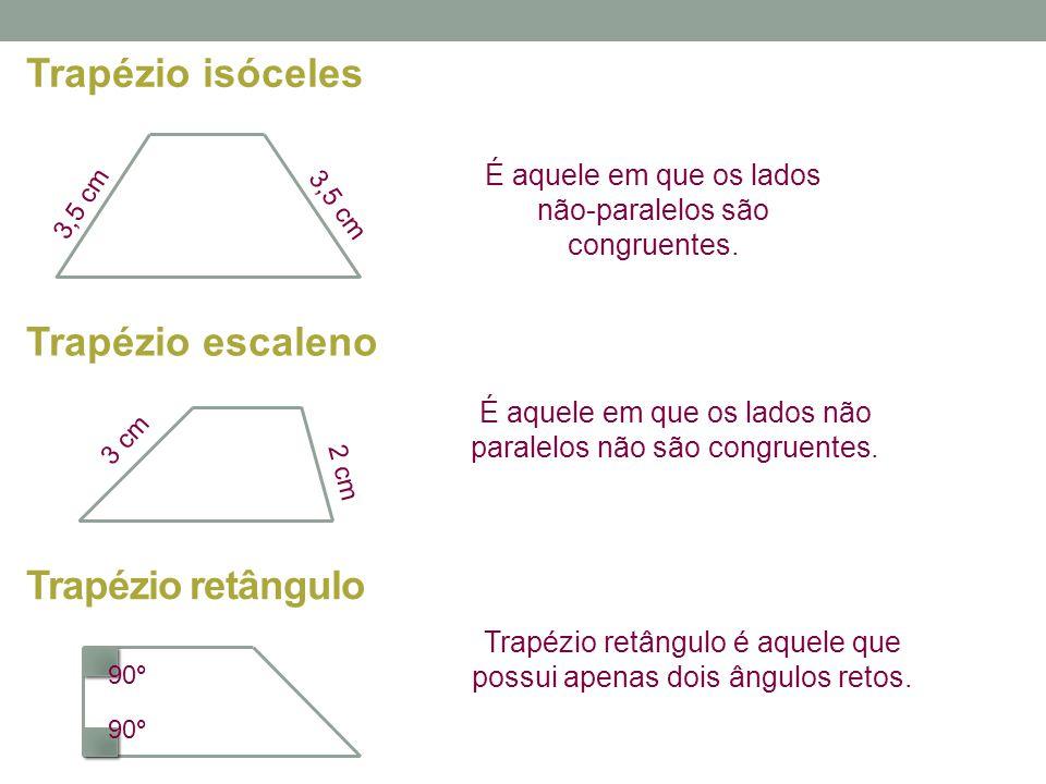 Trapézio retângulo Trapézio retângulo é aquele que possui apenas dois ângulos retos. Trapézio escaleno É aquele em que os lados não paralelos não são