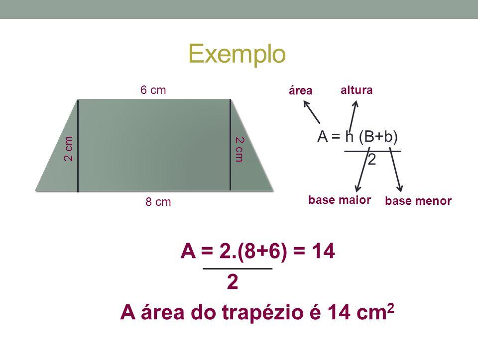 Exemplo 8 cm 6 cm 2 cm A = h (B+b) 2 área altura base maior base menor A = 2.(8+6) = 14 2 A área do trapézio é 14 cm 2
