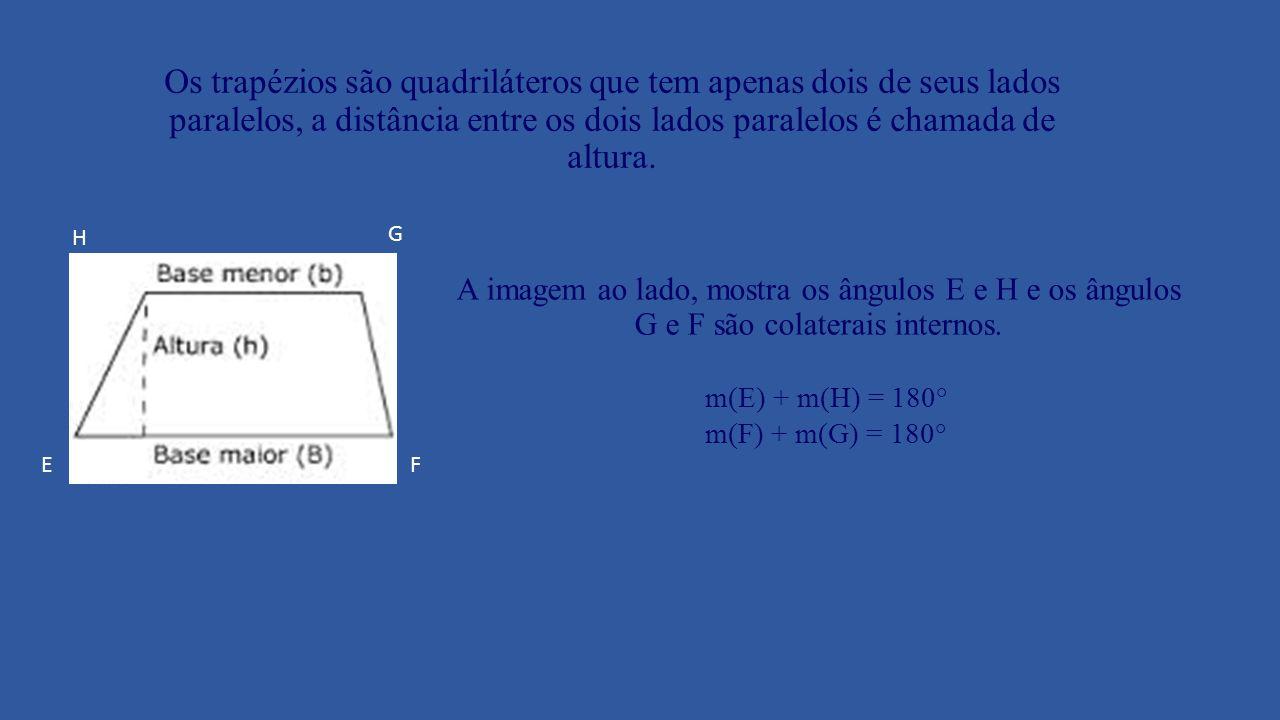 Os trapézios podem ser classificados em três tipos: Trapézios isósceles Trapézios retângulos Trapézios escaleno