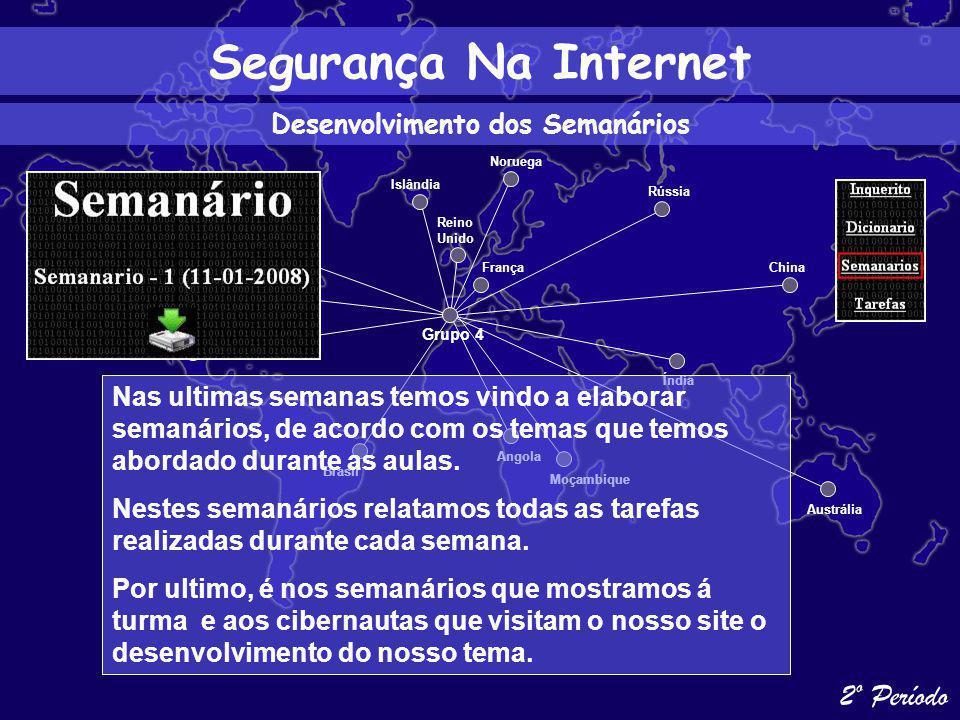 Segurança Na Internet Desenvolvimento do Nosso Projecto Estados Unidos México Canada Brasil Islândia Reino Unido Angola Austrália Índia China Rússia França Moçambique Grupo 4 Ao longo do 2º Período temos vindo a desenvolver o nosso projecto, e como tal enunciamos aqui algum dos desenvolvimentos alcançados no decorrer deste período.